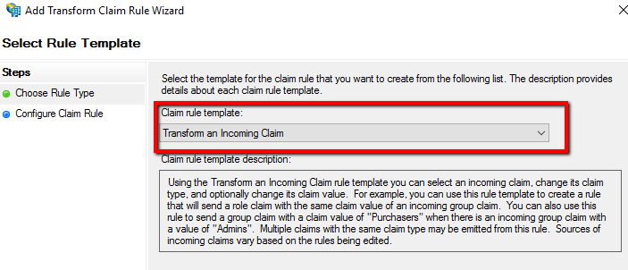 Add Transform Claim Rule